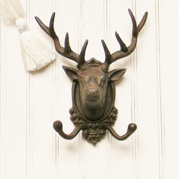 Cast Iron Deer Head Hook, Custom Color, Faux Taxidermy, Cast Iron Antlers, Faux Antlers, Cabin Decor, Hunting Lodge Decor, Gifts for Men