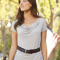Crinkled Drape-Neck Tee Shirt / Softly Crinkled Drape-Neck Tee -- Orvis