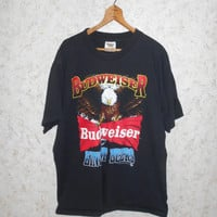 Vintage 90s Budweiser King of Beers Eagle Black Tee Shirt Anheuser Busch  Short Sleeve Bud Cotton Hipster Hip Hop Retro mens Size XL