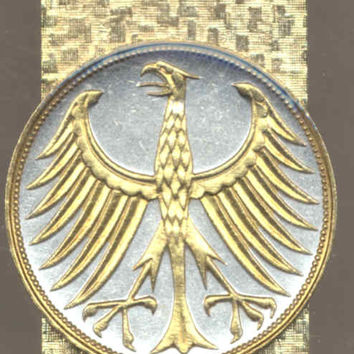 Gorgeous 2-Toned Gold on Silver German  5 mark Eagle,  Coin - Money clips