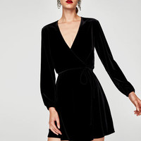 VELVET MINI WRAP DRESS