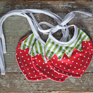 Baby's Bib Set of 3 Strawberries Handmade for Girl Hand Made with love Small Newborn Baby Bib Set great for baby shower gift ideas