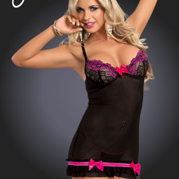 YX673 Dress in Rose/Black by Yesx Lingerie