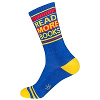Read More Books Unisex Dress Crew Socks in Red, Blue and Yellow