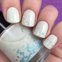 Sea Glass-Creamy Crelly with Gold and Blue Glitters Indie Nail Polish by Noodles Nail Polish