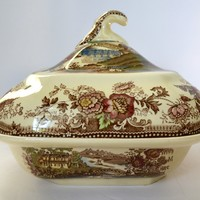 Clarice Cliff Brown Polychrome Transferware Lidded Tureen Royal Staffordshire Tonquin  Swans &  Roses