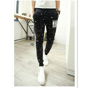 New Fall Men's Fashion  Pants Blend Harem Pants Men Slim Printing Joggers Pants Trousers AQ852561