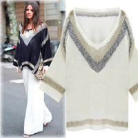 Women's Trending Popular Fashion Cardigan Knit Loose V Neck Split Bat Short Sleeve Shirt Blouse Top Smock Gown _ 5129