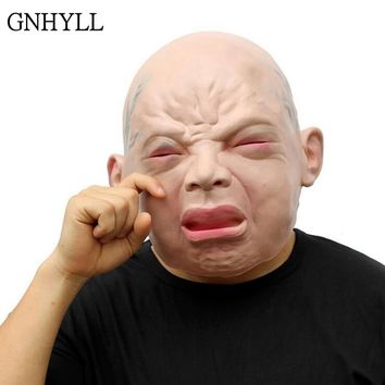 GNHYLL Halloween Mask Funny Party Face Masks Creepy Halloween Costume Prop Cry Baby Full Head Latex Rubber Masquerade Mask