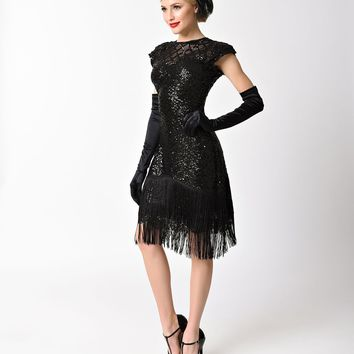 Unique Vintage 1920s Black Sequin Fringe Del Mar Flapper Dress