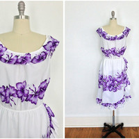 Vintage Hawaiian Dress / White Off-Shoulder / Purple Floral Aloha Print / 80s Sundress / Size Large L XL XXL Plus