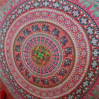 Queen Size Indian Tapestry Red Mandala Boho Tapestry Indian Mandala Ethnic Decor Art Throw Hippie Printed Cotton Bed Sheet
