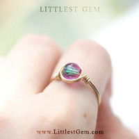 Pink and Green Galactic Ring, Gold or Sterling Silver Ring, wire wrapped ring, wire wrapped jewelry handmade, unique rings, galaxy ring