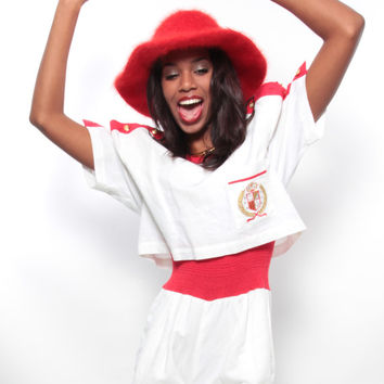 Whitney Houston Halloween Costume - Vintage 80s/90s Red/White/Gold Military/Sailor Jumpsuit - Hip Hop/Rap/Urban/Hype/Club/MC Hammer Style