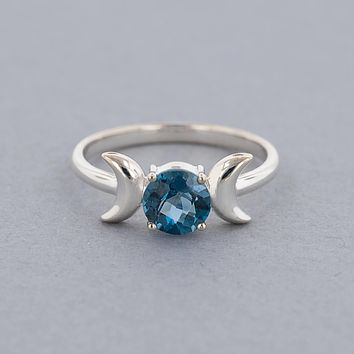 Triple Moon Goddess Ring-Sterling Silver with London Blue Topaz