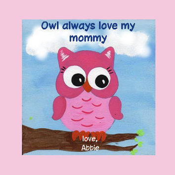 "6"" X 6"" Little Baby Owl (Personalized Sign) Wall Decor"