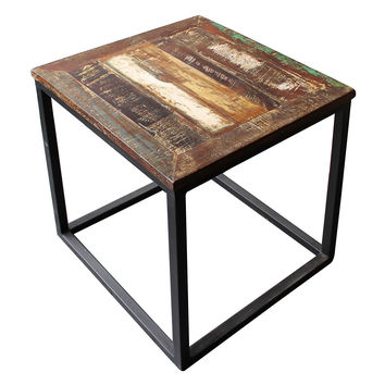 Surat Iron U0026 Wooden Side Table, Gun Metal With Recycled Wood