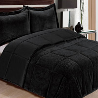 "Ultra Soft Queen Size Plush Comforter Three Piece Set (90"" x 90"") - Black"