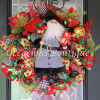 Last One! Christmas Wreath, Holiday Wreath, Santa, Christmas Decoration, Christmas Gift, XL Wreath, Whimsical Christmas Wreath