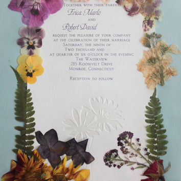 Custom Framed Wedding Invitations, Baby Announcements , Bar/Bat Mitzvah, High School /College Diploma, and More with Dried Pressed Flowers