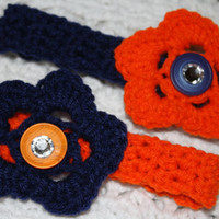 SALE BOGO Detroit Tigers Navy and Orange Bears Headband Sized Newborn with Bling- Adult headband- Ready to ship, Photo Prop Pick one, or set