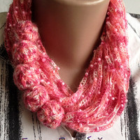 "Scarf-jewelry ""Berry"", crochet, crochet jewelry, scarf, jewelry, gift for women, accessories, knitted jewelry"