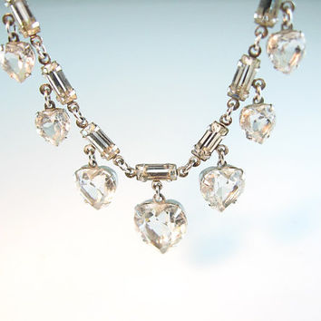 Art Deco Crystal Necklace Dangling Clear Hearts Baguettes 1940s 50s Wedding
