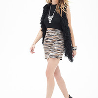 LOVE 21 Textured Multi-Knit Skirt Black/Grey