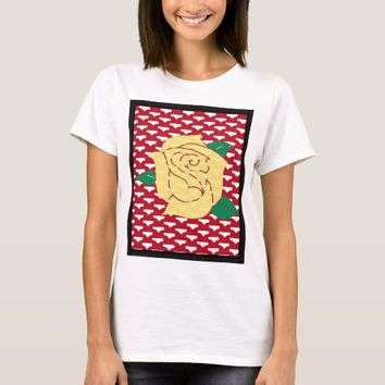 Framed Yellow Rose on Red Tshirt