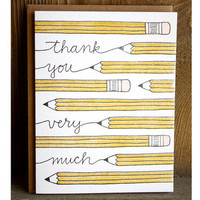 Thank You Pencils Letterpressed Notecard