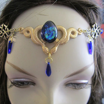 Cobalt Circlet of the Serpent Priestess Elven Celtic Druid LARP Bridal Renaissance Cosplay