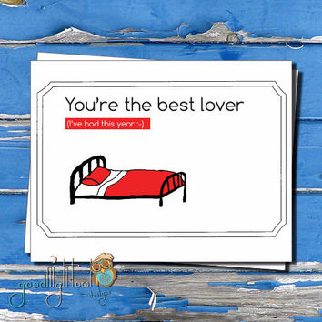 "Cheeky I Love You card, ""You're the best lover, I've had this year"" Valentines day card, Cute, funny, anniversary card,"