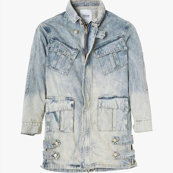 Denim Strap Jacket in Light Sand Wash