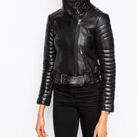 ASOS Biker Jacket with Funnel Neck in Leather