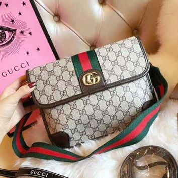 Gucci Stylish Women Letter Stripe Print Leather Crossbody Satchel Shoulder Bag Waist Bag Handbag I-QS-MP-JZLB