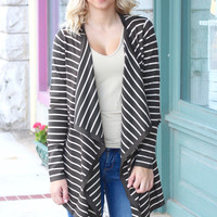 Waterfall Striped Elbow Patch Cardigan {Olive+Oatmeal}