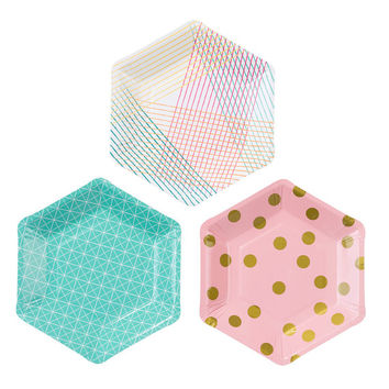 12 modern and trendy Hexagonal shaped, geo designs and neon colour party plates.
