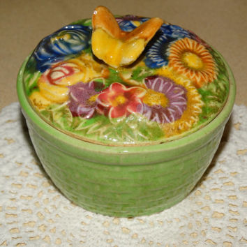 Vintage Trinket bowl, Flowers & Butterfly, Daisy's, Roses,s, Jewelry Bowl, Treasure Dish, Vanity Bowl , Colorful, Circa 1940;s Made in Japan