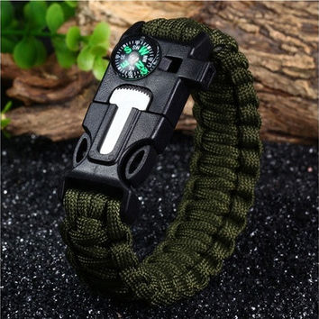 5 in 1 Outdoor Survival Paracord Bracelet - ARMY GREEN [8322876737]