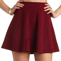 PAISLEY EMBOSSED SKATER SKIRT