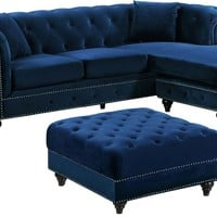 Sabrina Deep Tufted Navy Velvet Reversible Sectional Sofa