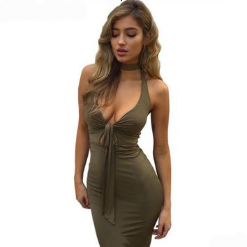 Stylish Halter Deep V-Neck Women Party Bodycon Dress