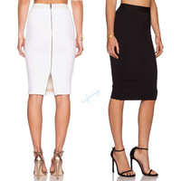 Women Lady Slim Fitted Knee Length Bodycon Pencil High Waist Career Skirt = 5660097985