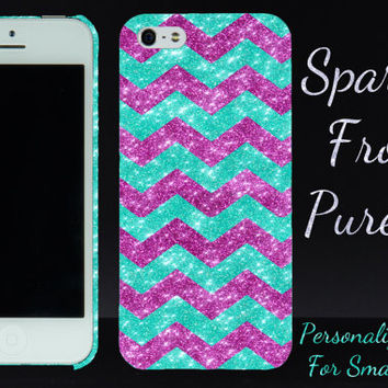 iPhone 5c Case iPhone 5s Case - Small Chevron Glitter Sparkly Wintermint/Raspberry - Bling iPhone 4 Case iPhone 4s Case - Slim iPhone 5 Case