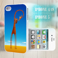 unique iphone case, i phone 4 4s 5 case,cool cute iphone4 iphone4s 5 case,stylish plastic rubber cases cover, blue funny  giraffe   p1014