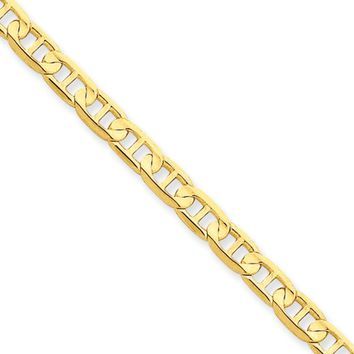 4.5mm, 14k Yellow Gold, Concave Anchor Chain Anklet or Bracelet, 9in