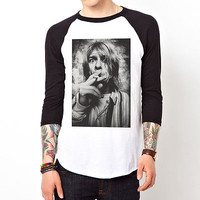 Kurt Cobain-Smoke#2 band nirvana Baseball Jersey t-shirt 3/4 sleeve Raglan Tee
