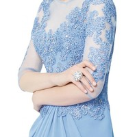 Gorgeous Bridal Bateau Neckline Lace Long Half-sleeve Evening Dresses Chiffon