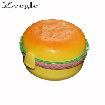Zeegle Hamburger Shaped Double Layer Baby Food Storage Box Kids Plastic Lunch Meal Box Camping Vacuum Food Container
