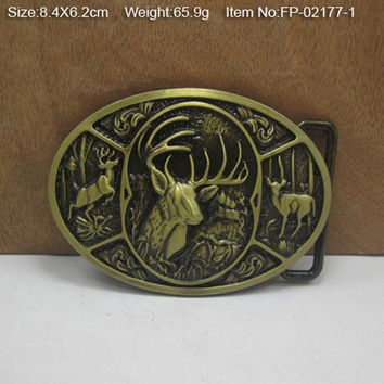 Free shipping DEER HUNTING  Cowboy Metal Belt Buckle Texas Fashion Mens Western  Badge Feathers  Native Avengers